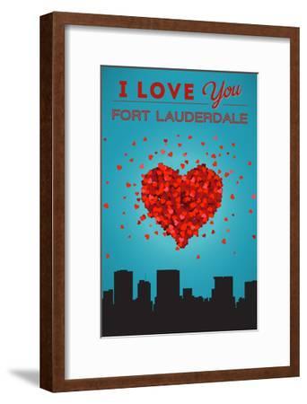 I Love You Fort Lauderdale, Florida-Lantern Press-Framed Art Print
