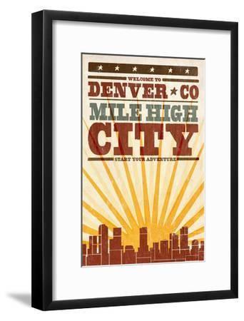 Denver, Colorado - Skyline and Sunburst Screenprint Style-Lantern Press-Framed Art Print