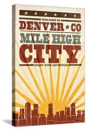 Denver, Colorado - Skyline and Sunburst Screenprint Style-Lantern Press-Stretched Canvas Print