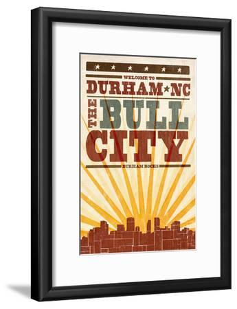 Durham, North Carolina - Skyline and Sunburst Screenprint Style-Lantern Press-Framed Art Print