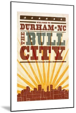 Durham, North Carolina - Skyline and Sunburst Screenprint Style-Lantern Press-Mounted Art Print