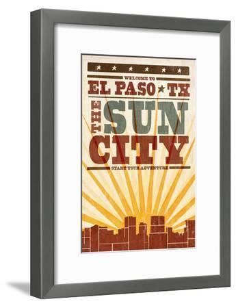 El Paso, Texas - Skyline and Sunburst Screenprint Style-Lantern Press-Framed Art Print