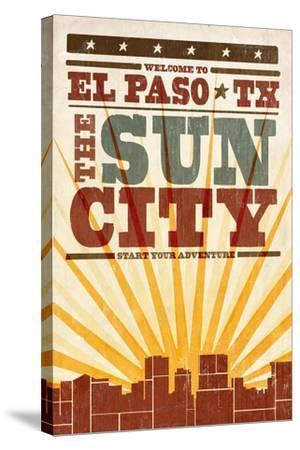 El Paso, Texas - Skyline and Sunburst Screenprint Style-Lantern Press-Stretched Canvas Print