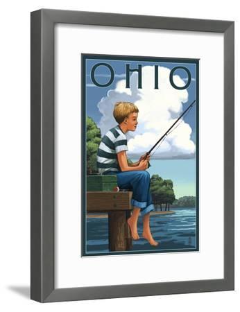 Ohio - Boy Fishing-Lantern Press-Framed Art Print