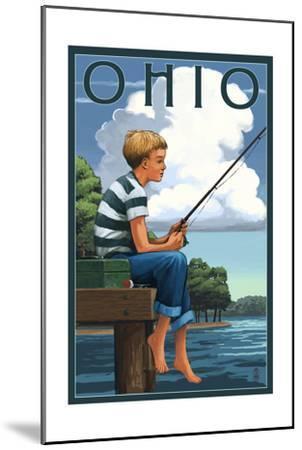 Ohio - Boy Fishing-Lantern Press-Mounted Art Print