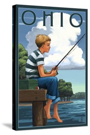 Ohio - Boy Fishing-Lantern Press-Stretched Canvas Print