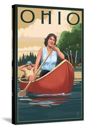 Ohio - Canoers on Lake-Lantern Press-Stretched Canvas Print