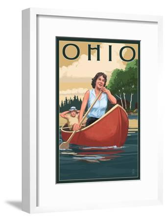 Ohio - Canoers on Lake-Lantern Press-Framed Art Print