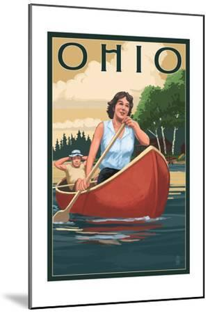 Ohio - Canoers on Lake-Lantern Press-Mounted Art Print