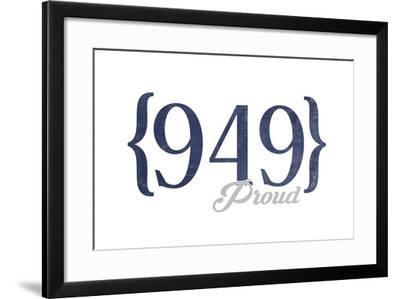 Laguna Beach, California - 949 Area Code (Blue)-Lantern Press-Framed Art Print
