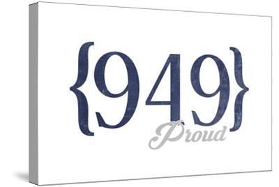 Laguna Beach, California - 949 Area Code (Blue)-Lantern Press-Stretched Canvas Print