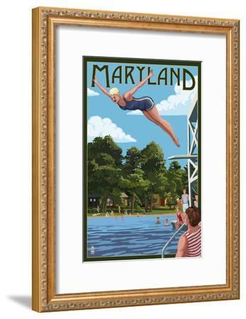 Maryland - Woman Diving and Lake-Lantern Press-Framed Art Print