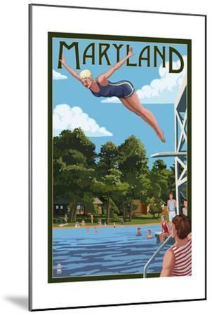 Maryland - Woman Diving and Lake-Lantern Press-Mounted Art Print