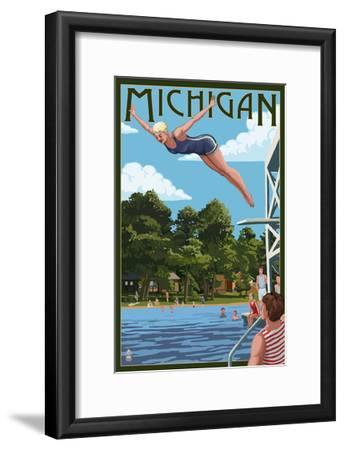 Michigan - Woman Diving and Lake-Lantern Press-Framed Art Print