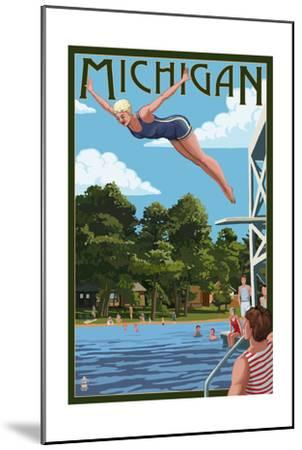 Michigan - Woman Diving and Lake-Lantern Press-Mounted Art Print