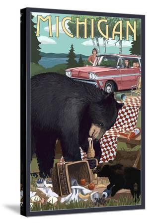 Michigan - Bear and Picnic Scene-Lantern Press-Stretched Canvas Print