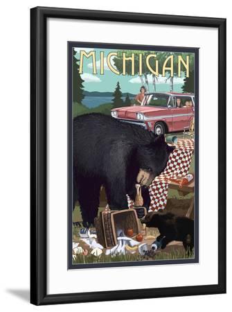 Michigan - Bear and Picnic Scene-Lantern Press-Framed Art Print