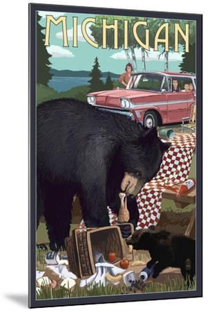 Michigan - Bear and Picnic Scene-Lantern Press-Mounted Art Print