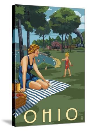 Ohio - Lake and Picnic Scene-Lantern Press-Stretched Canvas Print