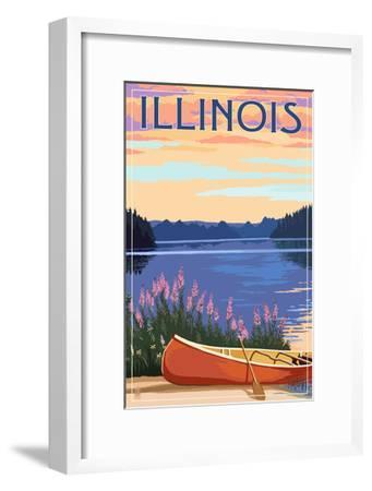Illinois - Canoe and Lake-Lantern Press-Framed Art Print