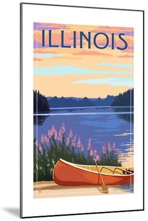 Illinois - Canoe and Lake-Lantern Press-Mounted Art Print