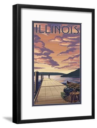 Illinois - Dock Scene and Lake-Lantern Press-Framed Art Print