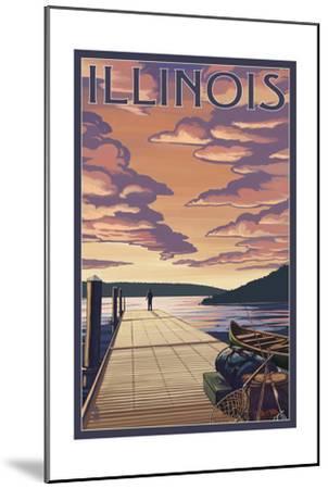 Illinois - Dock Scene and Lake-Lantern Press-Mounted Art Print
