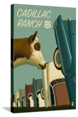 Cadillac Ranch, Texas - Route 66-Lantern Press-Stretched Canvas Print