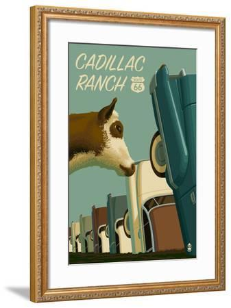 Cadillac Ranch, Texas - Route 66-Lantern Press-Framed Art Print