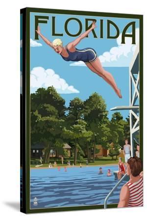 Florida - Woman Diving and Lake-Lantern Press-Stretched Canvas Print