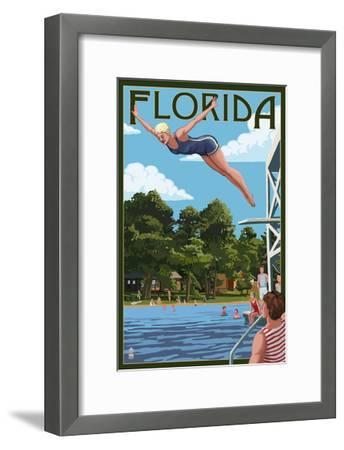 Florida - Woman Diving and Lake-Lantern Press-Framed Art Print