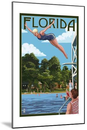 Florida - Woman Diving and Lake-Lantern Press-Mounted Art Print