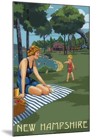 New Hampshire - Lake and Picnic Scene-Lantern Press-Mounted Art Print