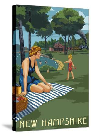 New Hampshire - Lake and Picnic Scene-Lantern Press-Stretched Canvas Print