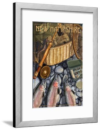 New Hampshire - Fishing Still Life-Lantern Press-Framed Art Print