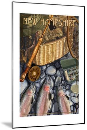 New Hampshire - Fishing Still Life-Lantern Press-Mounted Art Print