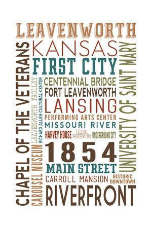 Leavenworth, Kansas - Typography-Lantern Press-Framed Art Print