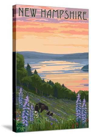 New Hampshire - Lake and Bear Family-Lantern Press-Stretched Canvas Print