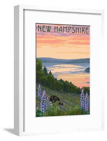 New Hampshire - Lake and Bear Family-Lantern Press-Framed Art Print