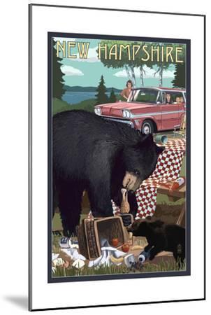 New Hampshire - Bear and Picnic Scene-Lantern Press-Mounted Art Print