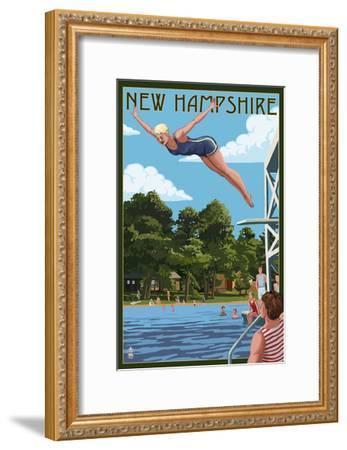 New Hampshire - Woman Diving and Lake-Lantern Press-Framed Art Print