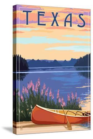 Texas - Canoe and Lake-Lantern Press-Stretched Canvas Print