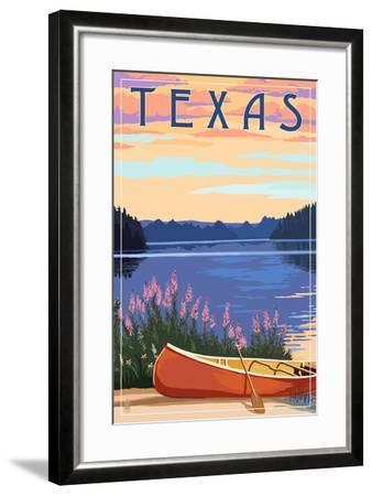 Texas - Canoe and Lake-Lantern Press-Framed Art Print