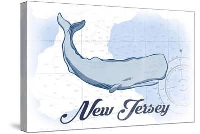 New Jersey - Whale - Blue - Coastal Icon-Lantern Press-Stretched Canvas Print