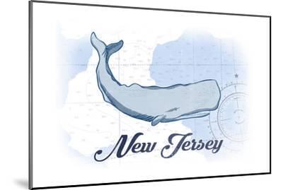 New Jersey - Whale - Blue - Coastal Icon-Lantern Press-Mounted Art Print