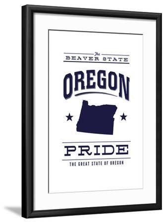 Oregon State Pride - Blue on White-Lantern Press-Framed Art Print