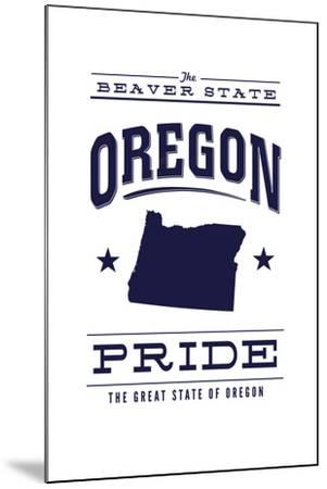 Oregon State Pride - Blue on White-Lantern Press-Mounted Art Print