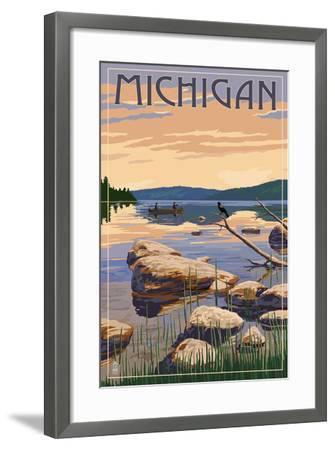 Michigan - Lake Sunrise Scene-Lantern Press-Framed Art Print