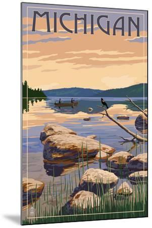 Michigan - Lake Sunrise Scene-Lantern Press-Mounted Art Print