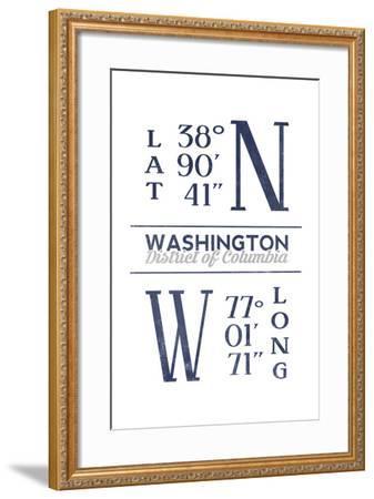 Washington D.C. - Latitude and Longitude (Blue)-Lantern Press-Framed Art Print